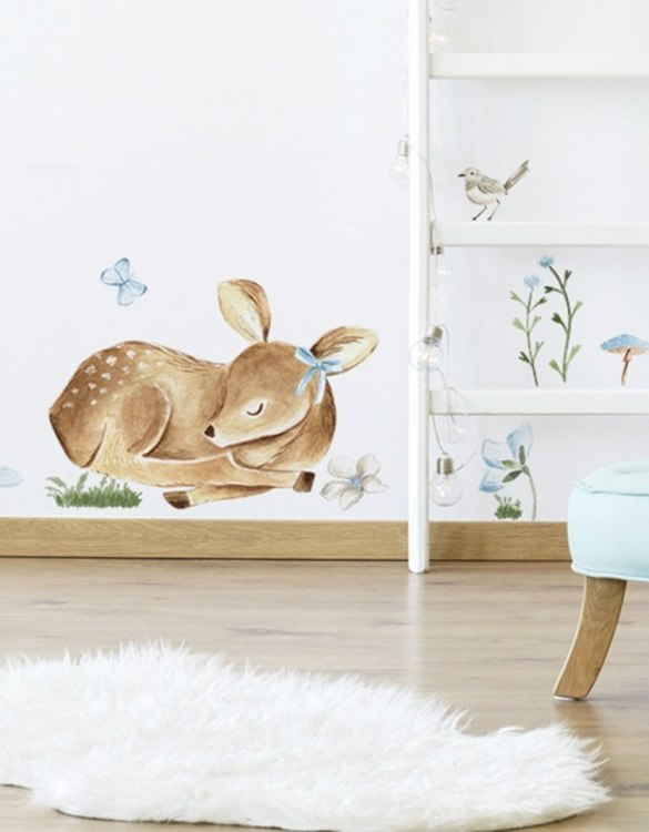A beautiful scene for children's rooms and nurseries, the Sleeping Deer Children's Wall Sticker is the perfect addition to any empty space (like walls or furniture). These wall stickers provide a flexible and cost-effective way to decorate your home.