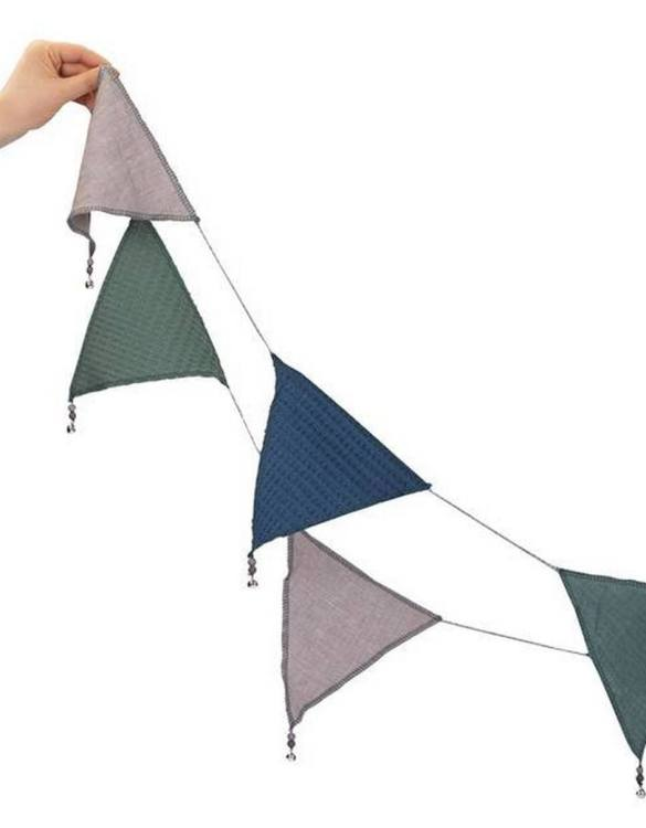 The ideal gift for a new baby or a Christening present, the Triangle Bunting Sage Green makes a fab addition to a party or a little one's room. A gentle garland will decorate your nursery room and contribute to the development of the baby.