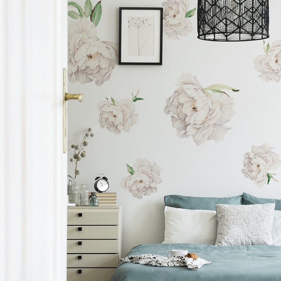 White Peonies Children's Wall Sticker
