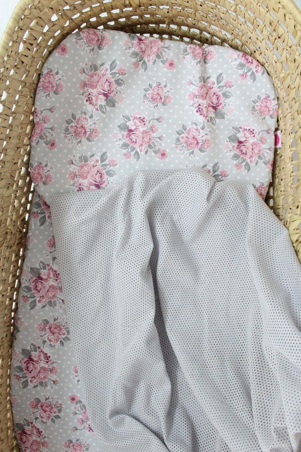 Flowers Grey Moses Basket Bedding Set