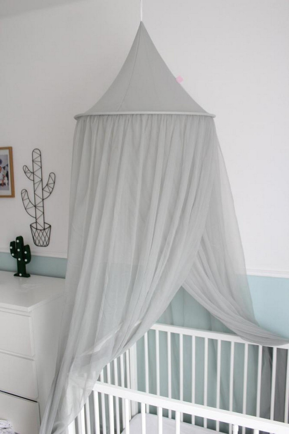 Gray Flowing Children's Bed Canopy