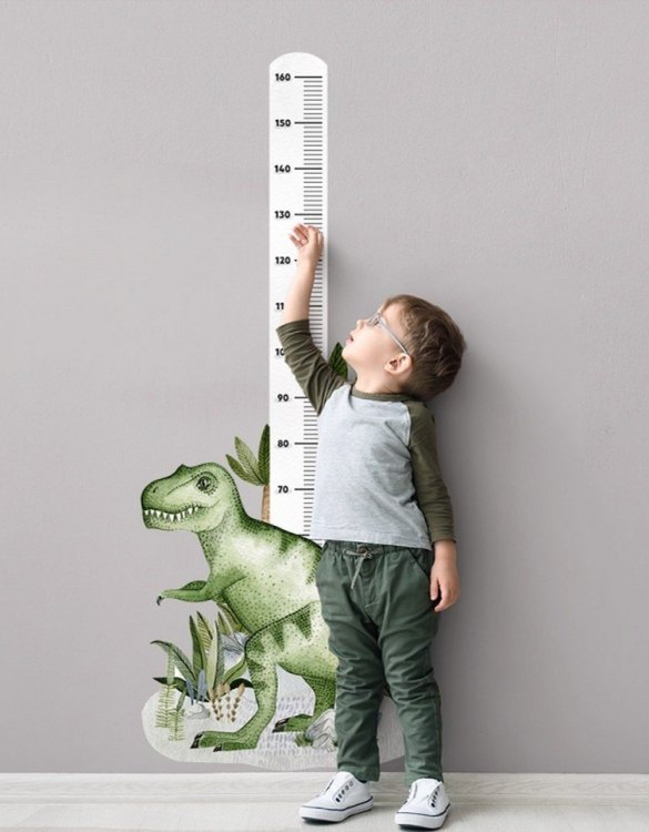 A real eye-catcher in every child's room, the Tyranozaur Child Growth Chart is the perfect way to follow your child's development and growth. Bright and colourful, this height chart wall sticker will look good in nurseries, bedrooms, or playrooms.