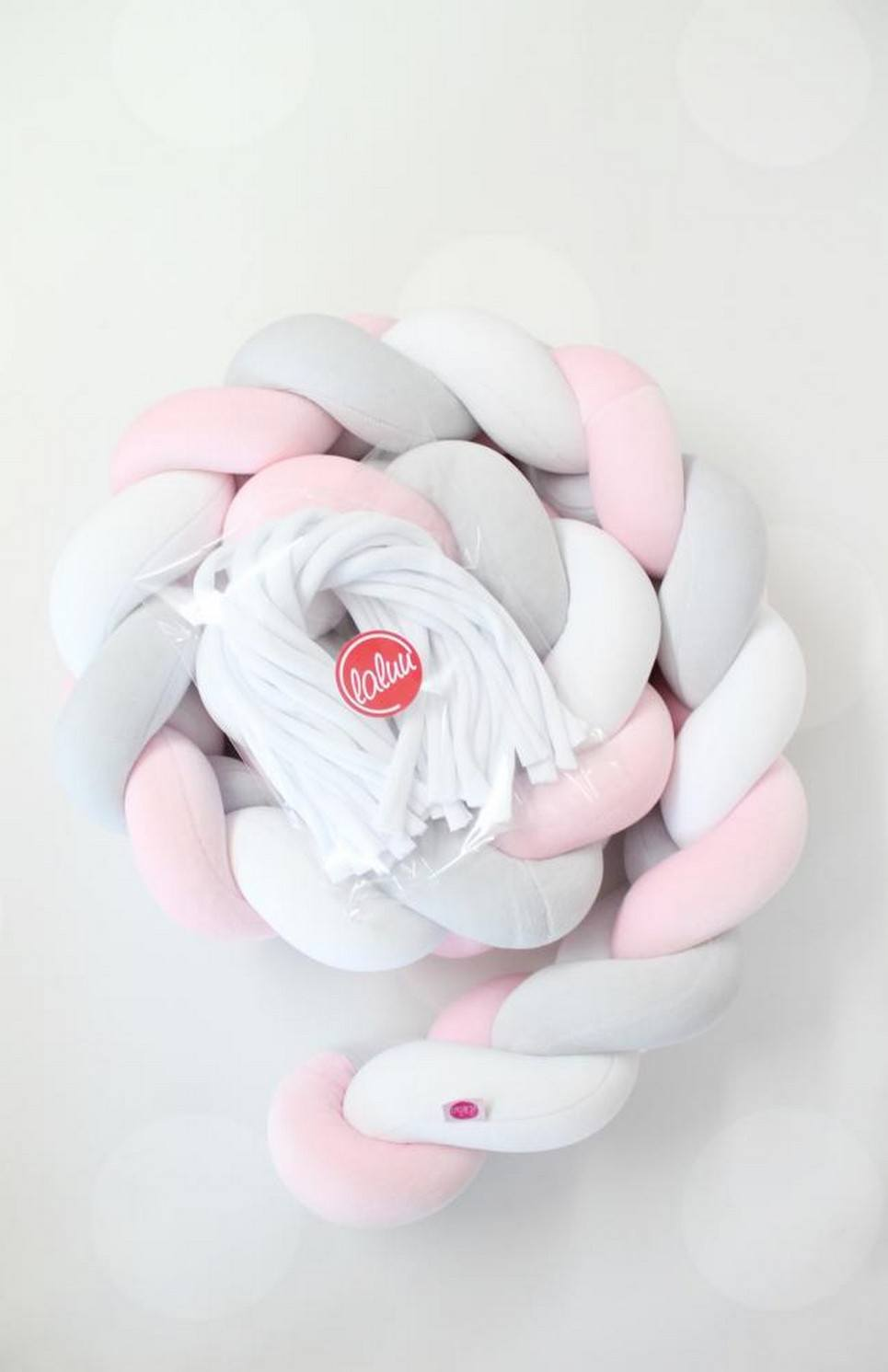 White, Pink and Grey Braided Crib Protector