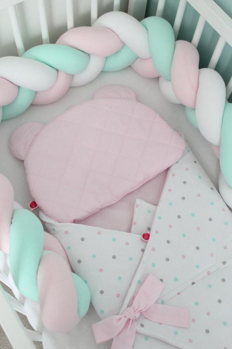 White, Pink and Mint Braided Crib Protector