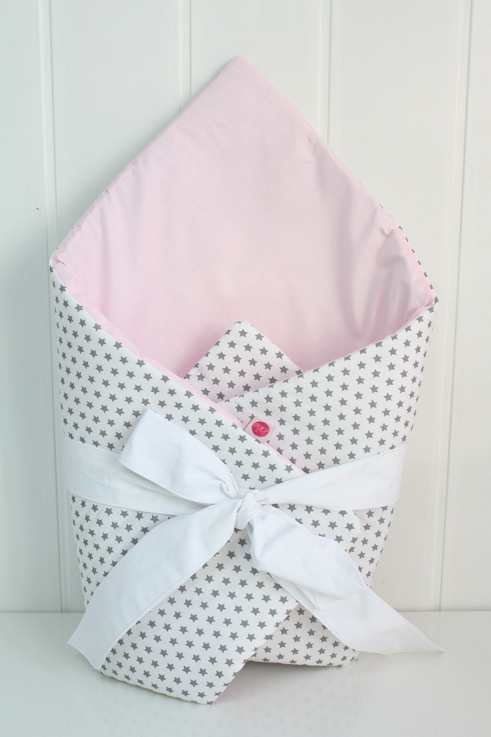 Stars On White And Light Pink Baby Horn With a Frill