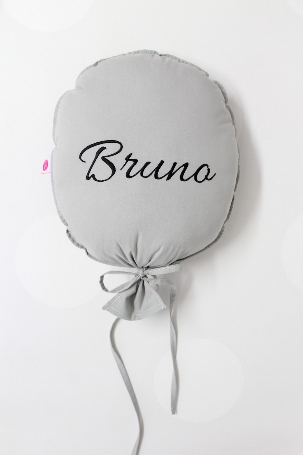 Dark Grey and Black Personalized Balloon Pillow