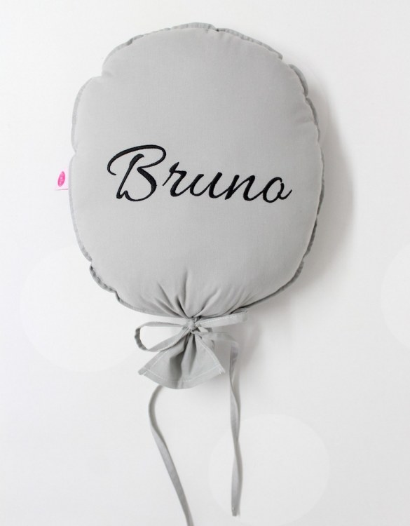 Perfect to bring the child inside everyone, the Dark Grey and Black Personalized Balloon Pillow is a wonderfully decorative and timeless addition to any child's room. This beautiful nursery balloon pillow is made from soft and cosy cotton.
