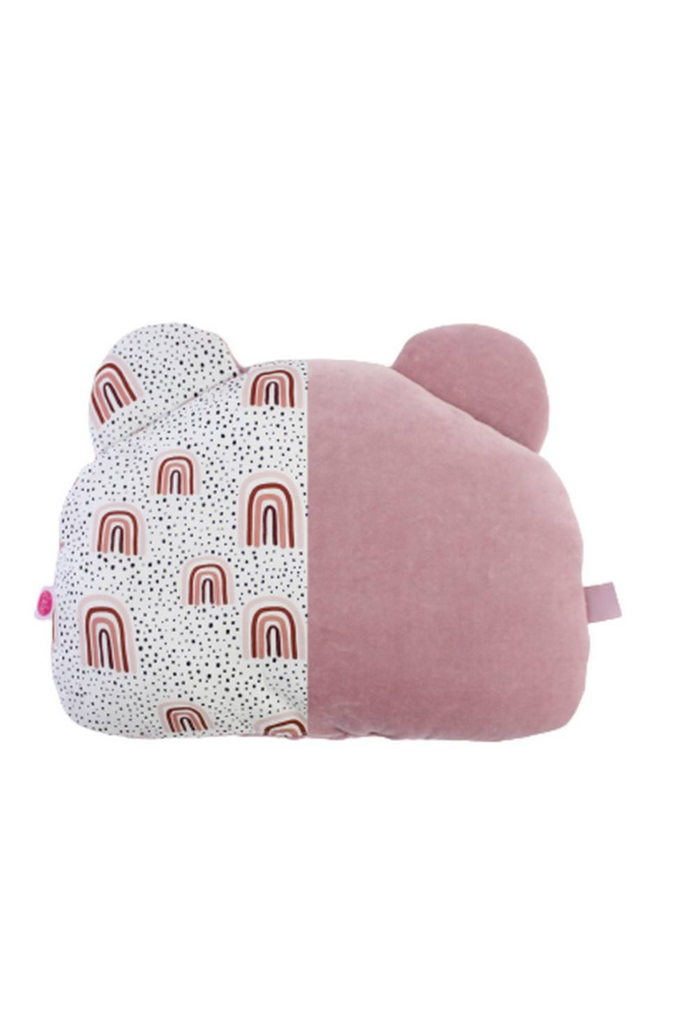 Dirty Pink and Rainbows Teddy Bear Baby Pillow