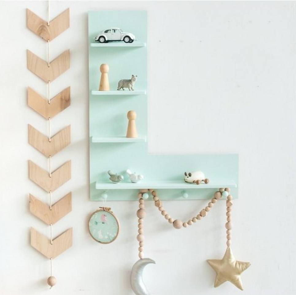 Mint Letter Children's Wall Shelf