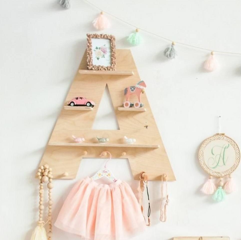 Natural Letter Children's Wall Shelf