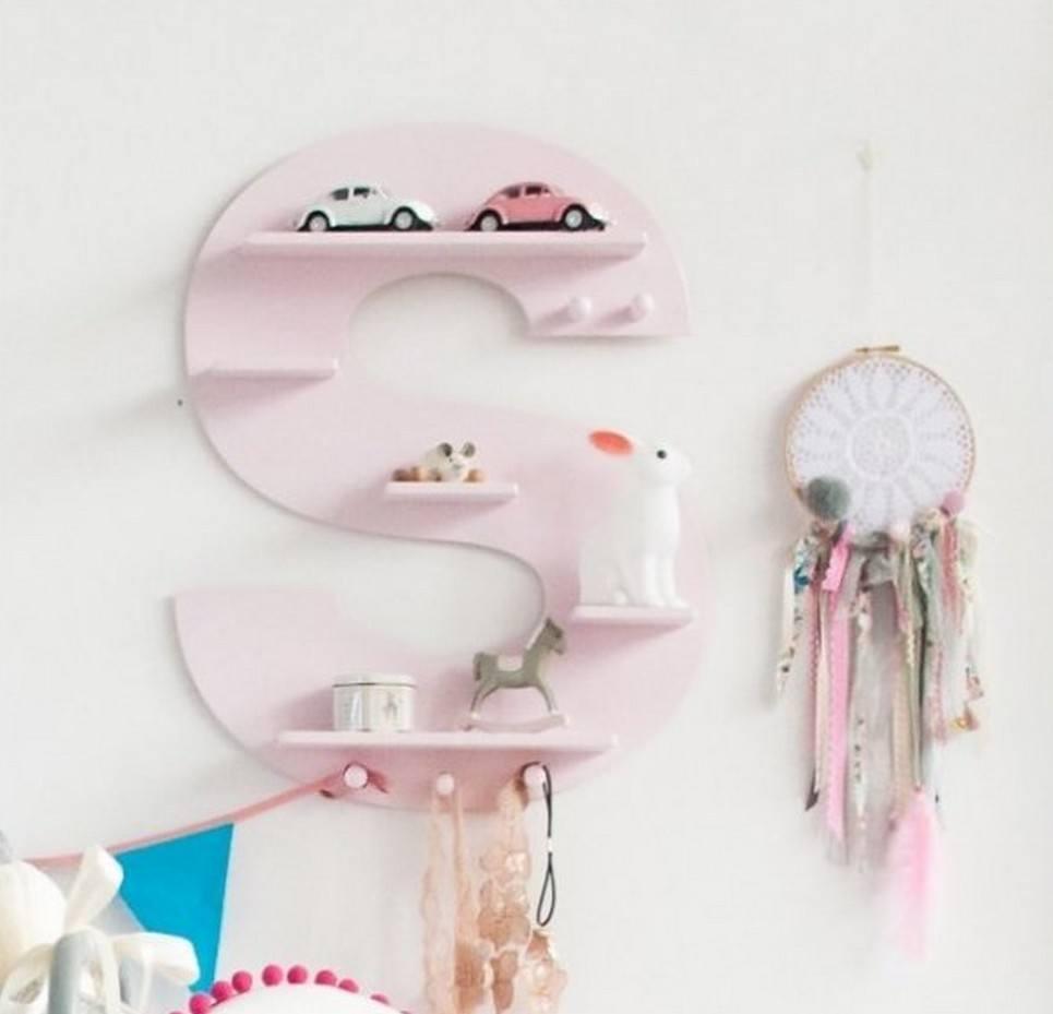 Pink Letter Children's Wall Shelf
