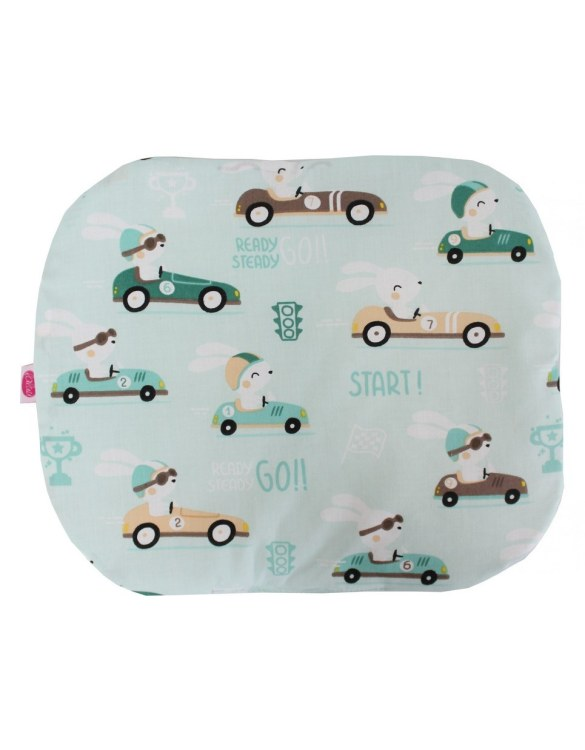 Beautifully soft and cuddly, the Rabbits On Mint Baby Flat Head Pillow is an adorable gift for a baby shower and also for nursery or kids' room decoration. A child up to 2 years old should sleep on a flat pillow.