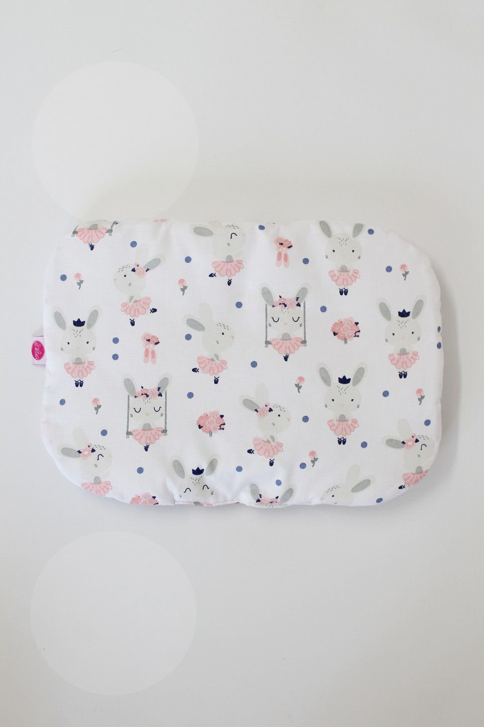 Rabbits On White Baby Flat Head Pillow