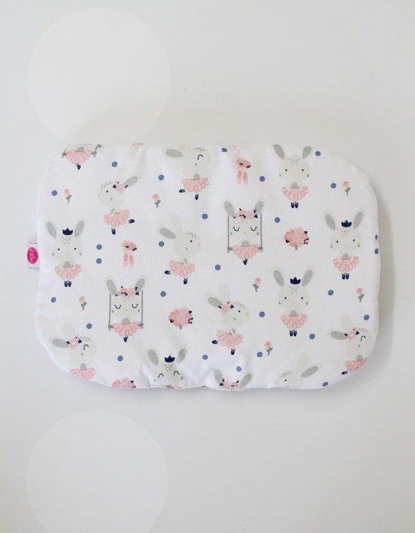 Beautifully soft and cuddly, the Rabbits On White Baby Flat Head Pillow is an adorable gift for a baby shower and also for nursery or kids' room decoration. A child up to 2 years old should sleep on a flat pillow.
