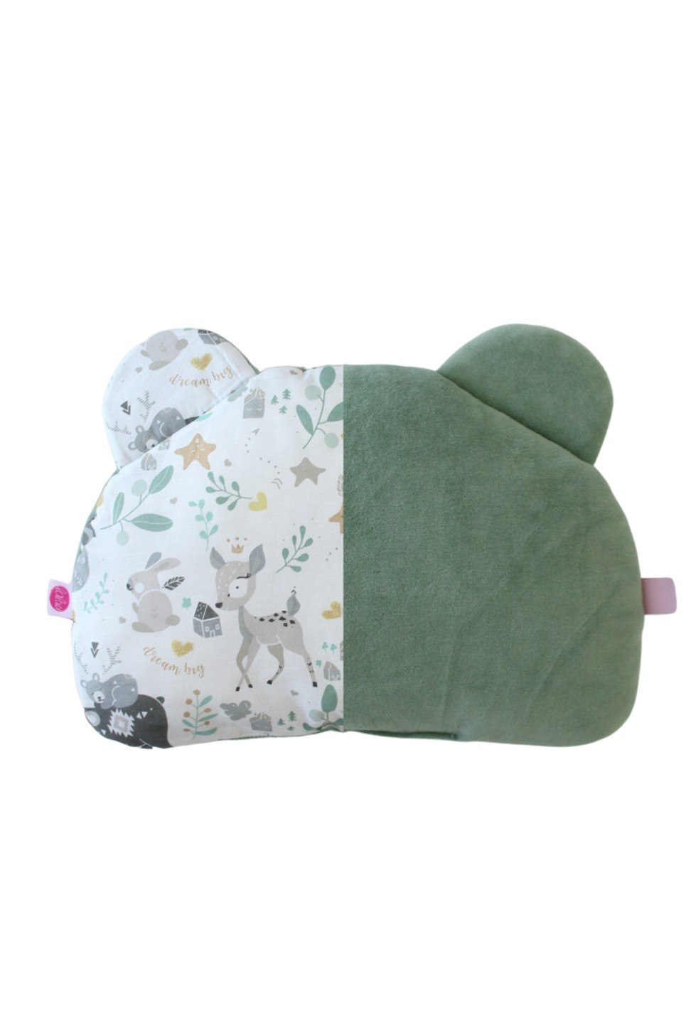 Sage and Fawn Teddy Bear Baby Pillow
