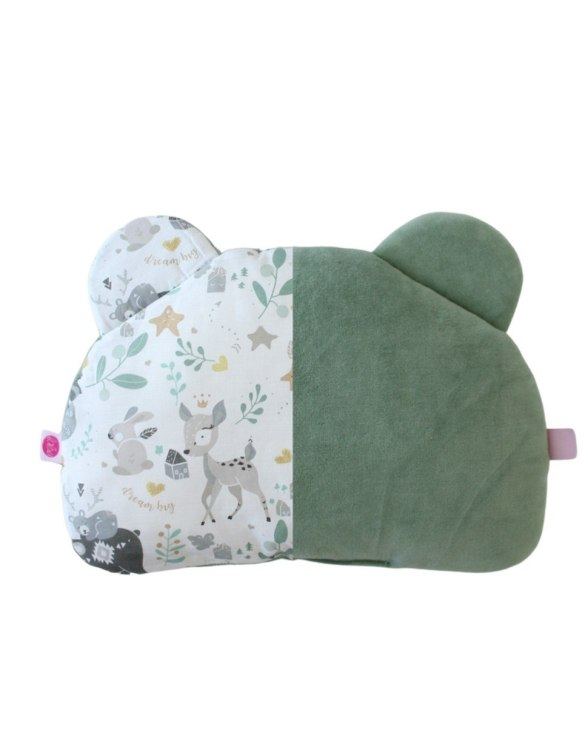 Beautifully soft and cuddly, the Sage and Fawn Teddy Bear Baby Pillow is an adorable gift for a baby shower and also for nursery or kids' room decoration. This baby head pillow can be used with car seats, strollers, and baby prams.