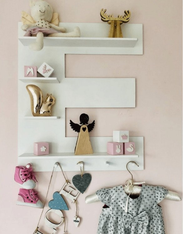 The perfect way to display your treasures, the White Letter Children's Wall Shelf is a beautiful addition to any child's bedroom or playroom! Put decorations, stuffed animals or smaller toys on the shelf and get a unique element of a children's room.