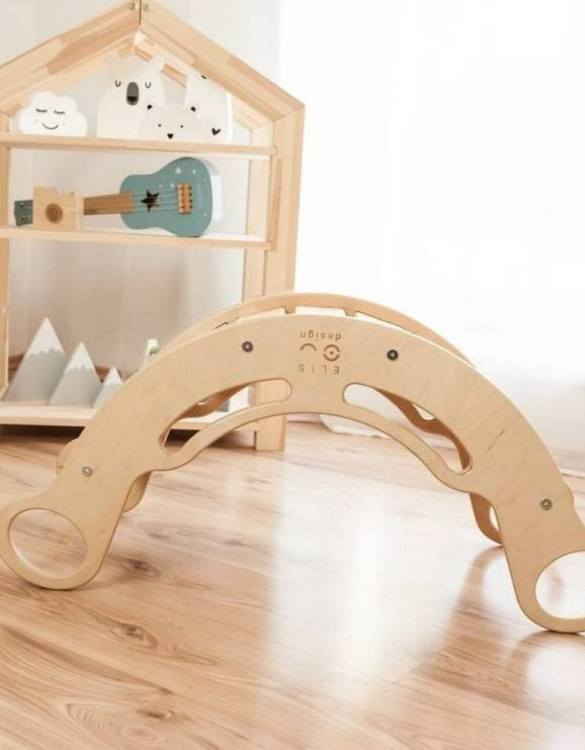 A great choice for playtime, the 5in1 Natur with White Montessori Balance Board will quickly become your household's most beloved toy as well. This rocking toy will stimulate your toddler's senses, awaken their imagination, strengthen muscles and will promote the development of balance.