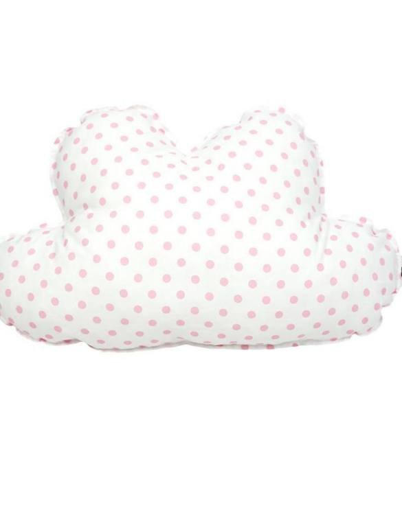 Perfect as a newborn pillow, the Cloud Pillow Pink Dots is a great addition for a nursery, children's room, baby crib, or kid's playroom. It makes the perfect gift!