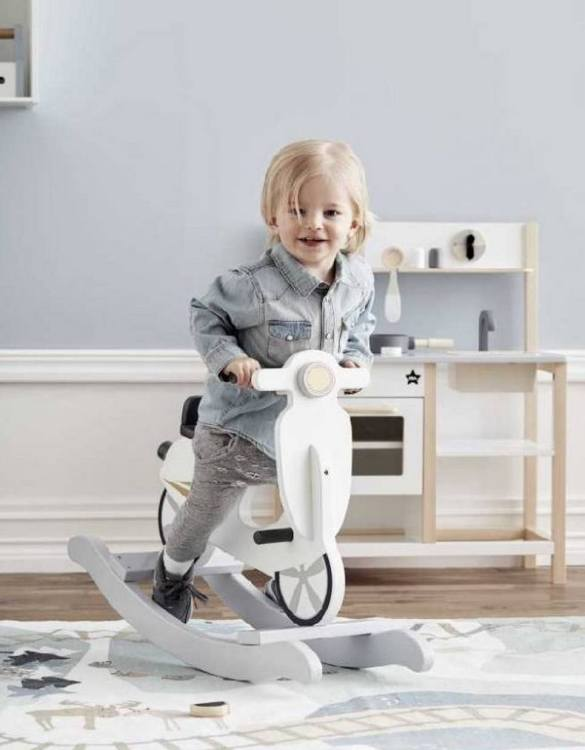 Safe for all ages 18 months and up, the Grey Scooter Children's Rocking Toy is certainly an original accessory that all your friends will envy your child. This beautiful wooden rocking toy is a lovely and unusual gift that will be enjoyed now and by future generations.