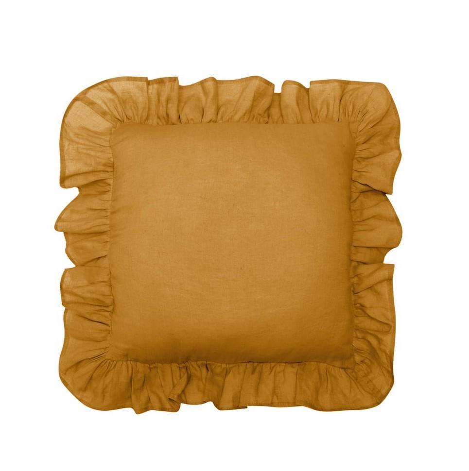 Mustard Ruffled Linen Pillow