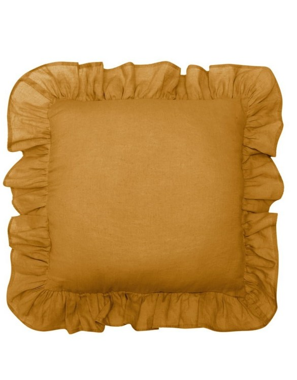 Perfect as a newborn pillow, the Mustard Ruffled Linen Pillow is a great addition for a nursery, children's room, baby crib, or kid's playroom. It makes the perfect gift!