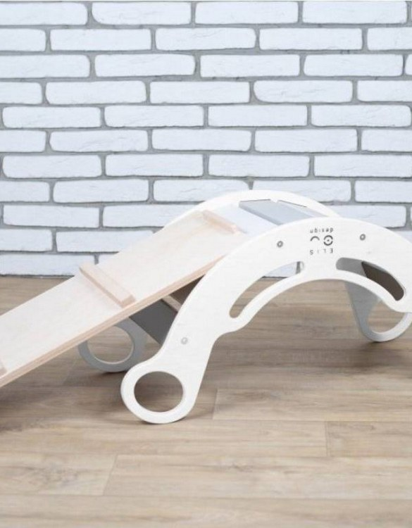 A great choice for playtime, the Rainbow with Gray Montessori Balance Board and Plank will quickly become your household's most beloved toy as well. This rocking toy will stimulate your toddler's senses, awaken their imagination, strengthen muscles and will promote the development of balance.