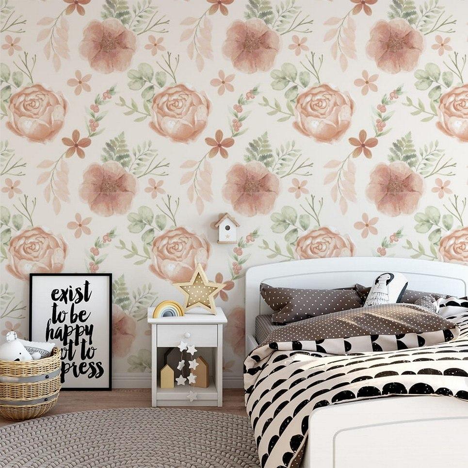 Apricot Peonies Children's Wallpaper