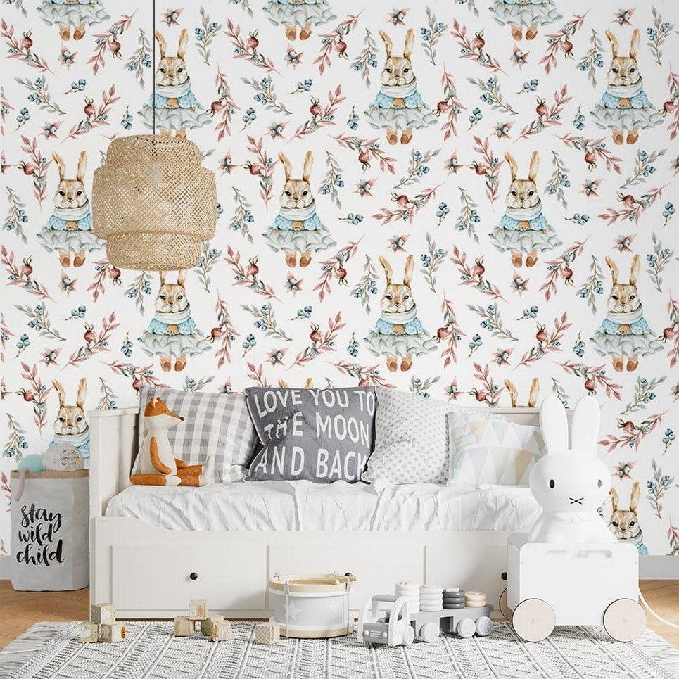 Berry Rabbit Children's Wallpaper