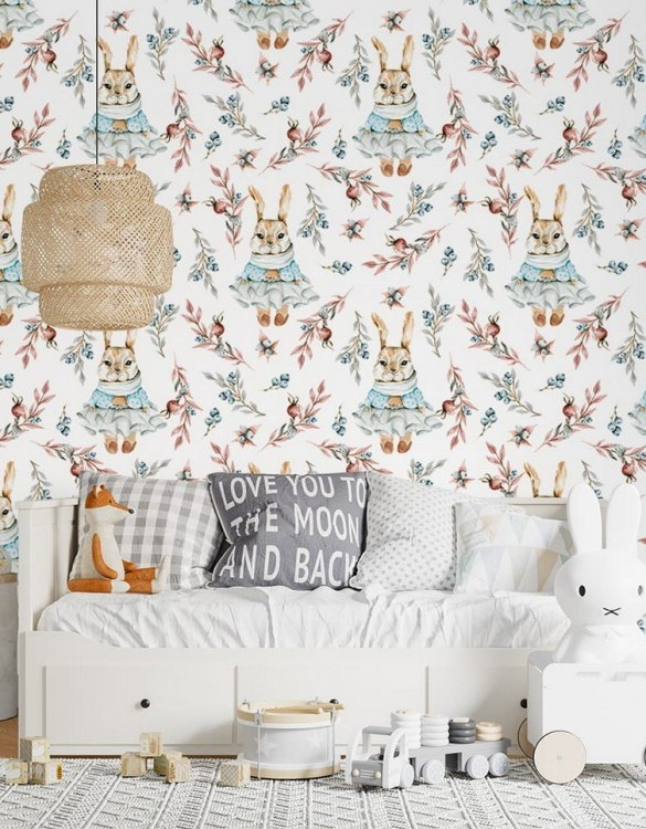 Sure to be adored by little ones, the Berry Rabbit Children's Wallpaper is a fun addition to any nursery or playroom. Go on an adventure with our kid's wallpaper for children's rooms! A well-chosen pattern can visually enlarge the interior.