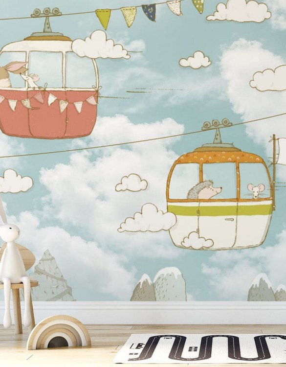 Sure to be adored by little ones, the Cable Car Children's Wallpaper is a fun addition to any nursery or playroom. Go on an adventure with our kid's wallpaper for children's rooms! A well-chosen pattern can visually enlarge the interior.