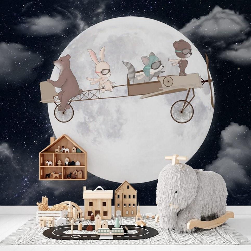 Cute Retro-Plane Night Children's Wallpaper
