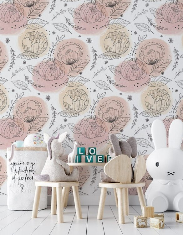 Sure to be adored by little ones, the Drawn Peonies Children's Wallpaper is a fun addition to any nursery or playroom. Go on an adventure with our kid's wallpaper for children's rooms! A well-chosen pattern can visually enlarge the interior.