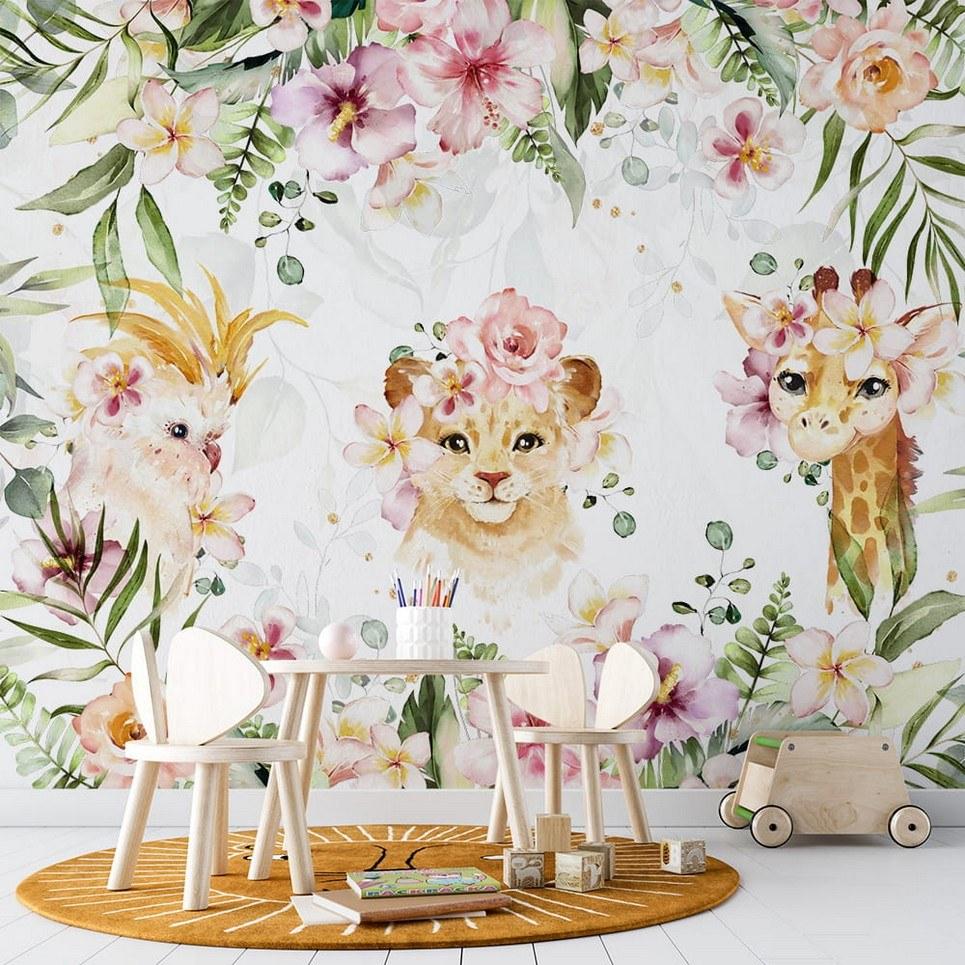 Flower Jungle Children's Wallpaper