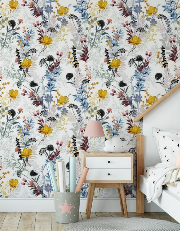 Sure to be adored by little ones, the Flower Meadow Children's Wallpaper is a fun addition to any nursery or playroom. Go on an adventure with our kid's wallpaper for children's rooms! A well-chosen pattern can visually enlarge the interior.