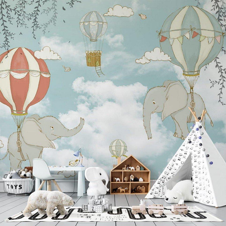 Flying Elephants Children's Wallpaper