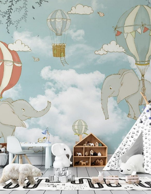 Sure to be adored by little ones, the Flying Elephants Children's Wallpaper is a fun addition to any nursery or playroom. Go on an adventure with our kid's wallpaper for children's rooms! A well-chosen pattern can visually enlarge the interior.