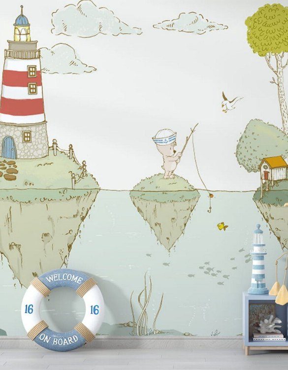 Sure to be adored by little ones, the Lighthouse Children's Wallpaper is a fun addition to any nursery or playroom. Go on an adventure with our kid's wallpaper for children's rooms! A well-chosen pattern can visually enlarge the interior.