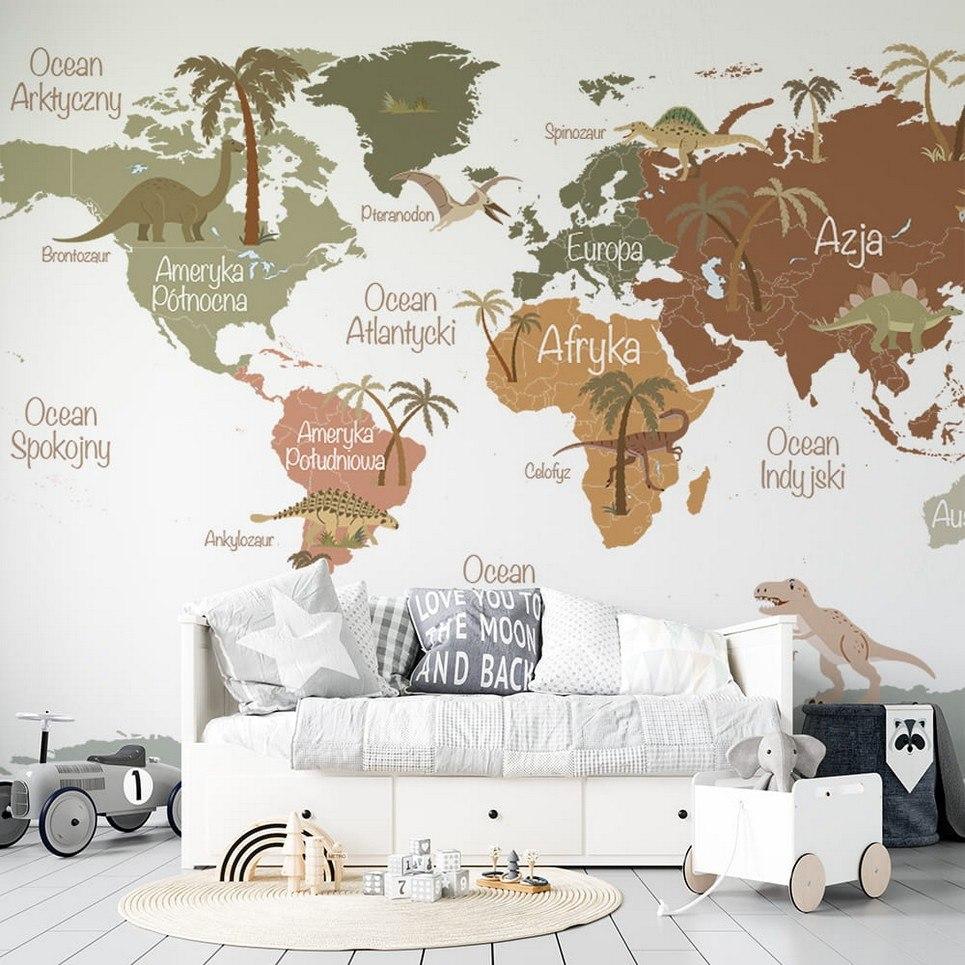 Map of Dinosaurs Children's Wallpaper