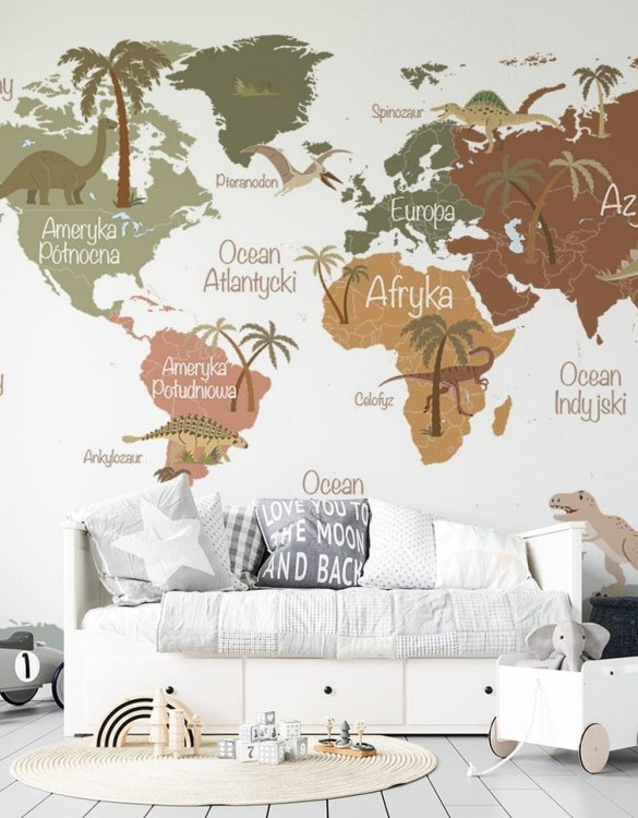 Sure to be adored by little ones, the Map of Dinosaurs Children's Wallpaper is a fun addition to any nursery or playroom. Go on an adventure with our kid's wallpaper for children's rooms! A well-chosen pattern can visually enlarge the interior.