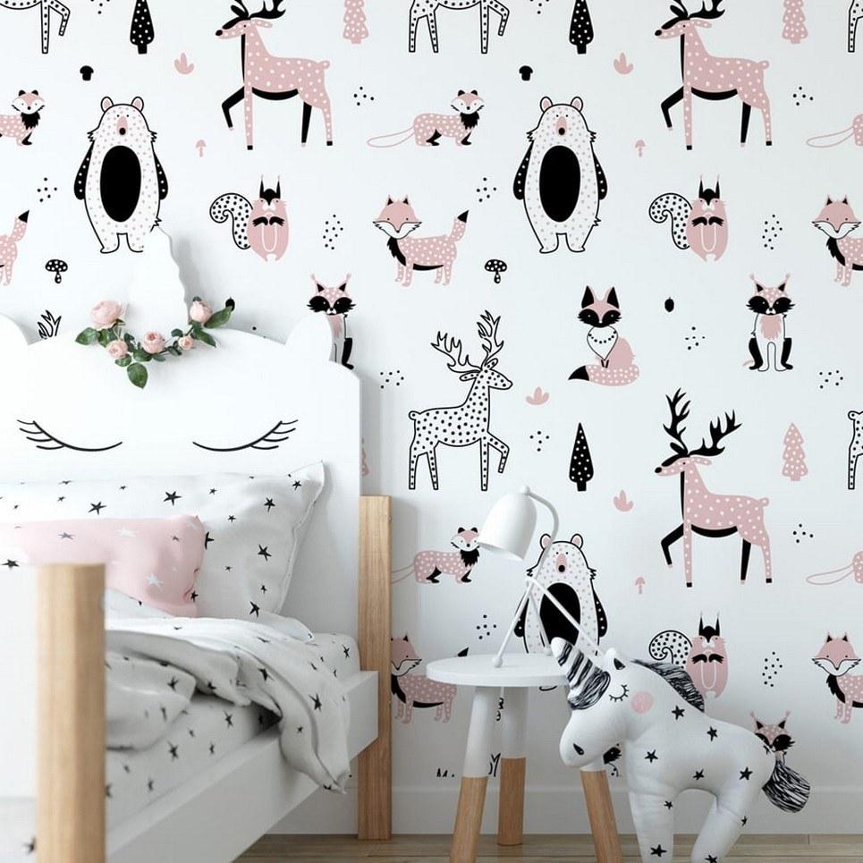 Pastel Forest Children's Wallpaper