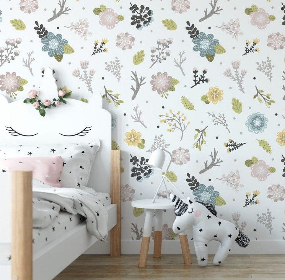 Pastel Meadow Children's Wallpaper
