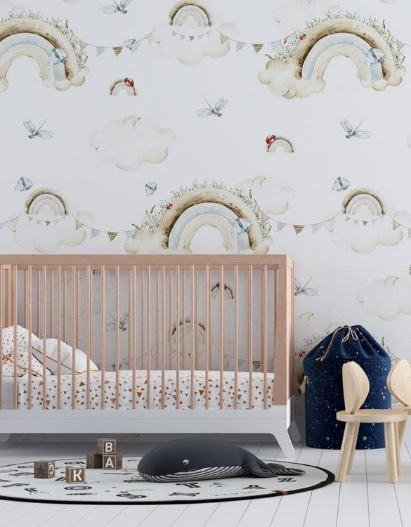 Sure to be adored by little ones, the Pastel World with Rainbows Children's Wallpaper is a fun addition to any nursery or playroom. Go on an adventure with our kid's wallpaper for children's rooms! A well-chosen pattern can visually enlarge the interior.