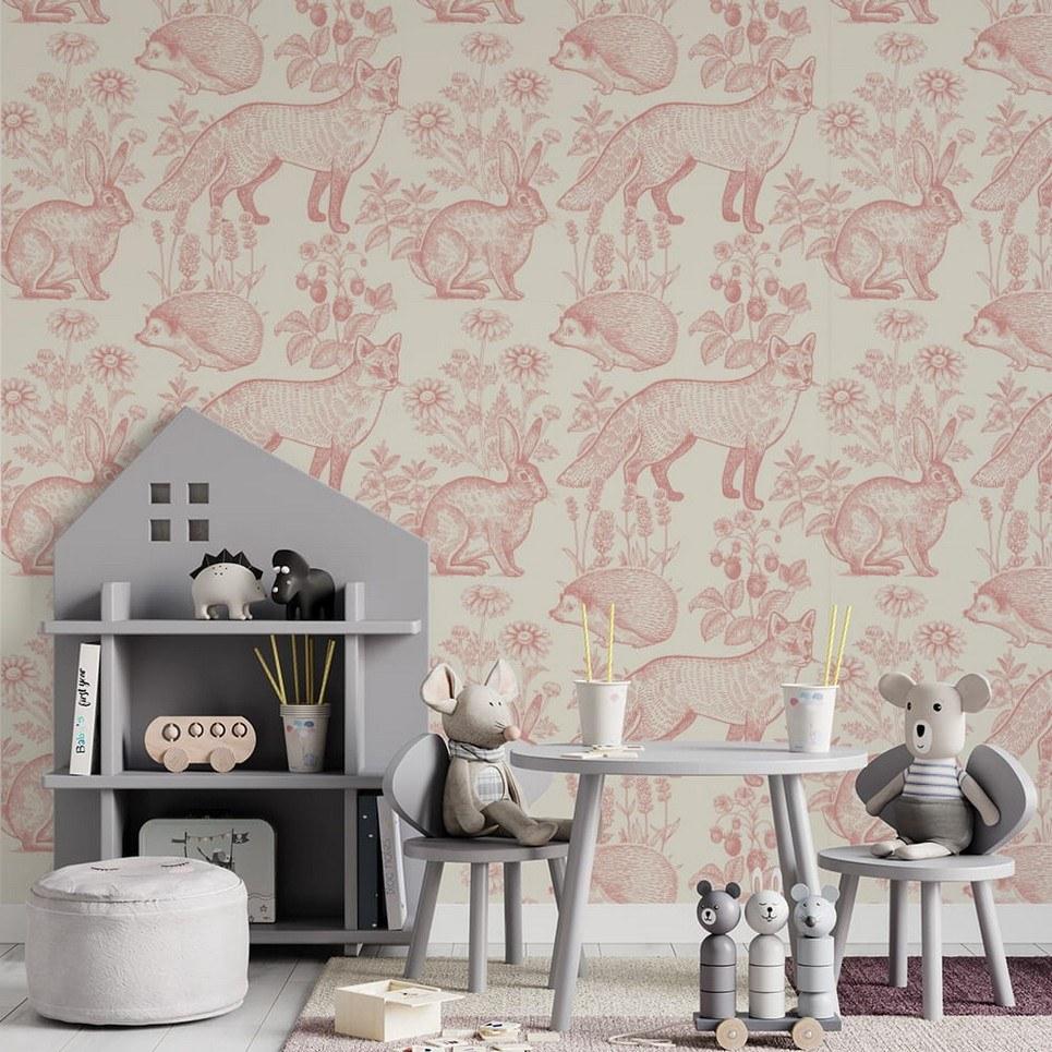 Pink Foxes Children's Wallpaper