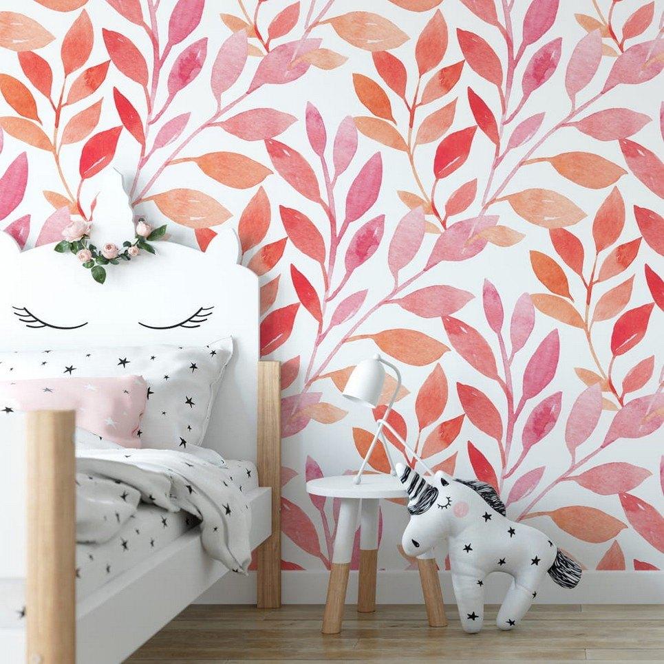 Pink Leaves Children's Wallpaper