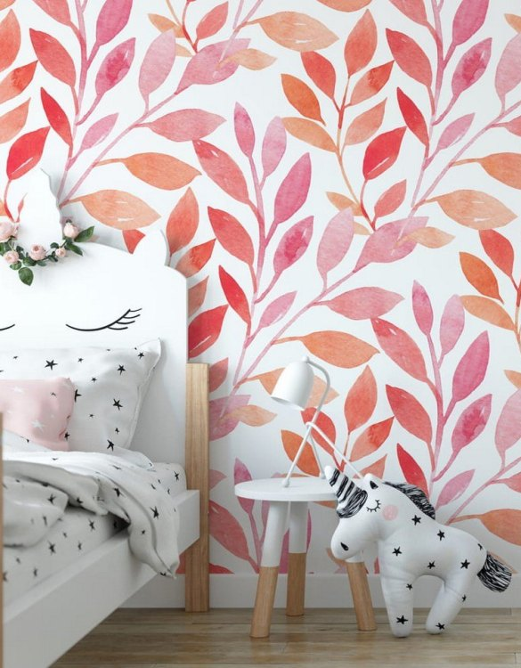 Sure to be adored by little ones, the Pink Leaves Children's Wallpaper is a fun addition to any nursery or playroom. Go on an adventure with our kid's wallpaper for children's rooms! A well-chosen pattern can visually enlarge the interior.
