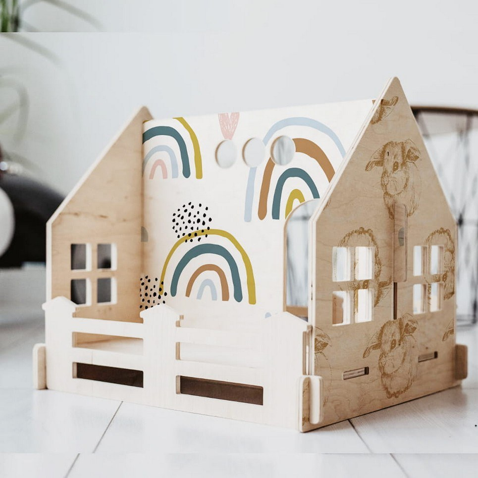 Rainbow Children's Dolls House With a Fence