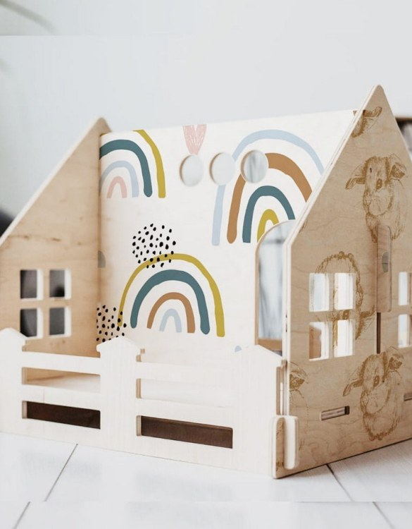"""With a beautiful design, the Rainbow Children's Dolls House With a Fence has been created not only for great fun, but also are a unique decoration for children's rooms. Toys that help to pretend to be """"adults"""", such as mini-cookers, prams, or dollhouses are very important in the development of a child."""