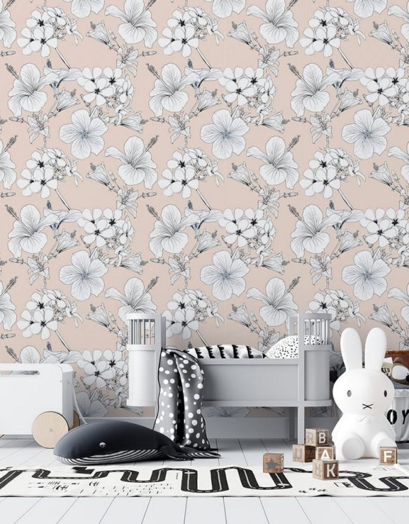 Sure to be adored by little ones, the Retro Hibiscus Children's Wallpaper is a fun addition to any nursery or playroom. Go on an adventure with our kid's wallpaper for children's rooms! A well-chosen pattern can visually enlarge the interior.