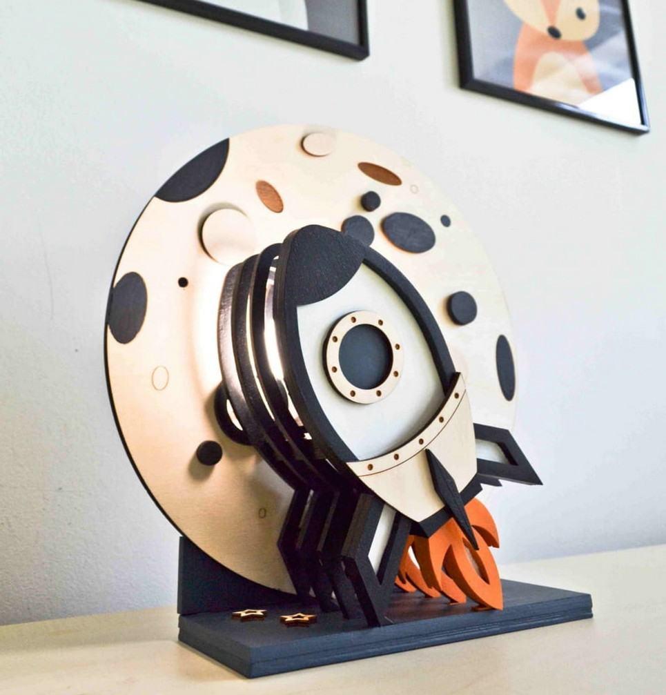 Rocket 3D Wooden Lamp for Children
